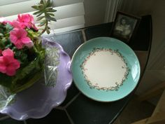 Lifetime China Gold Crown Tiffany Blue luncheon by pinkveggie, $15.00