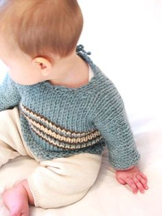 baby sweater pattern: chunky one-piece knit infant pullover, PDF digital file