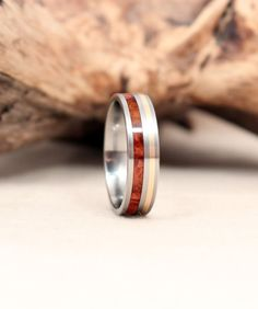 Gold Wooden Ring with Amboyna Burl and Titanium by WedgewoodRings