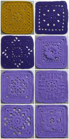 365 Granny a day project done by The Jewell's Handmade - Photos and Links to lots of FREE crochet afghan squares! Crochet Squares Afghan, Crochet Blocks, Granny Square Crochet Pattern, Crochet Stitches Patterns, Crochet Motif, Knit Crochet, Knitting Patterns, Free Crochet, Crochet Cushions