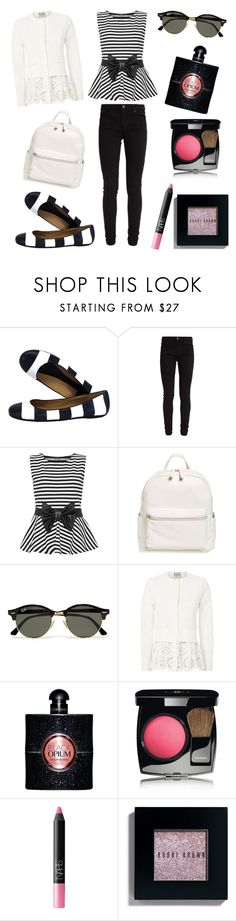 """""""Outfit Inspiration // Black And White"""" by peltomakipauliina on Polyvore featuring Kate Spade, Levi's, WearAll, BP., Ray-Ban, Sea, New York, Yves Saint Laurent, Chanel, NARS Cosmetics and Bobbi Brown Cosmetics"""