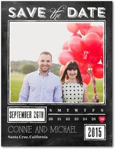 Chalked Promise - Save the Date Postcards - Fine Moments - Black : Front