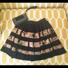Free People Gold Sequin Tiered Miniskirt New with tags, never worn; excellent condition! Elastic waistband (stretchy). Adorable and comfortable! Free People Dresses