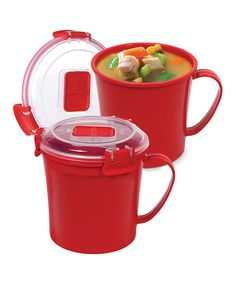 Another great find on #zulily! Sistema Red 22-Oz. Soup Mug - Set of Two by Sistema #zulilyfinds