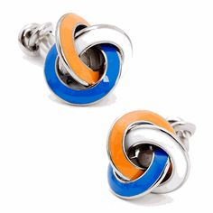 These elegant cufflinks feature rhodium-plated base metal with an enamel-detailed knot. They are double ended with a fixed back closure for ...