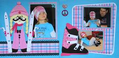 Scrapbook Page - 2 page winter layout with a girl skier and a ski boot from Christmas Album 4.