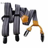 Beige Red Men Women Braces Unisex Suspenders Adjustable Clip-on Checked BD636