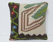 16x16 leaves kilim pillow cream throw pillow green decorative pillow couch pillow cover boho pillow case floral pillow sham cream rug 24476
