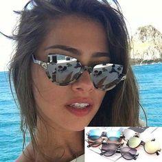 d9b5578382714 Superstar Fashion Cat Eye Sunglasses - Luxury Brand Designer Retro Mirrored  Lenses UV400