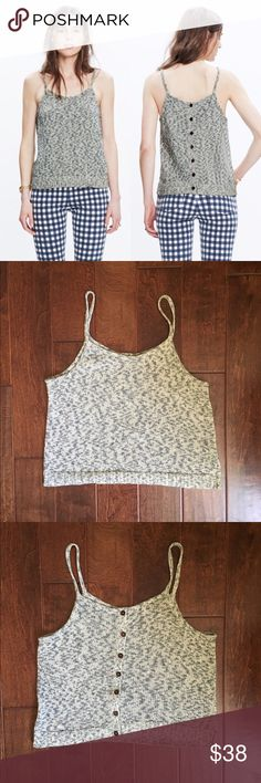 Madewell Button-Back Sweater Tank ❗️Final Price❗️ A strappy sweater-tank with wooden buttons down the back. Leave one (or two) open to reveal a glimpse of skin.   Only worn once but it was too big on me since I'm a true to size medium!  True to size. Cotton. Hand wash. Madewell Tops Tank Tops