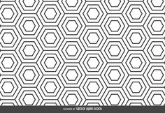 Abstract pattern featuring hexagons shapes in black and white. Use it in…