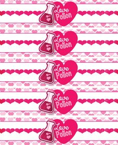 INSTANT DOWNLOAD Valentine's Water Bottle Labels by FabPartyPrints