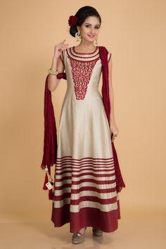 Add cultural richness to your #wardrobe with this #beige #chanderi #silk #anarkali.