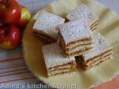 prajitura cu mere Romanian Desserts, Romanian Food, Romanian Recipes, Yummy Treats, Sweet Treats, Hungarian Cake, Cake Recipes, Dessert Recipes, Good Food