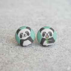 Pandas, Fabric Covered Button Earrings