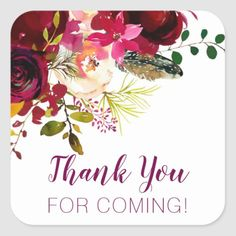 Shop Thank you for coming, burgundy floral favor square sticker created by lemontreecards. Wedding Color Schemes, Wedding Colors, Mary Kay Party, Thank You For Coming, Invitation Cards, Invite, Monogram Initials, Different Shapes, Baby Shower Invitations