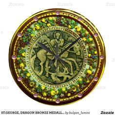 ST.GEORGE, DRAGON BRONZE MEDALLION  FLORAL CROWN LARGE CLOCK