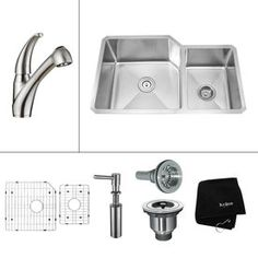 Kraus 16-Gauge Double-Basin Undermount Stainless Steel Kitchen Sink with Faucet