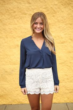 Long Sleeve Chiffon Shirt | RaeLynns Boutique - Prom and Fashion Boutique  The most perfect basic top! #navy #comfy #lace #socute