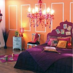 Bollywood Inspired Guest Room, awesome colors orange and purple And pink!  BeAuTiFuL