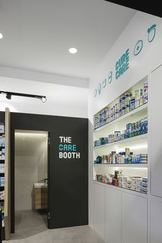 Cure + Care Pharmacy on Behance Hospital Pharmacy, Pharmacy Store, Pharmacy Humor, Drug Store, Web Design, Store Design, Retail Signs, Store Signage, Hospital Design