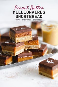 1 reviews · 43 minutes · Vegan · Serves 16 · If you love peanut butter then you need to try these decadent peanut butter shortbread bars! Each layer is made using the most delicious smooth and creamy peanut butter, and they'r vegan and so easy… Caramel Shortbread, Shortbread Bars, Vegan Caramel, Vegan Chocolate, Gluten Free Crust, Vegan Peanut Butter, Sans Gluten, Vegan Desserts, Cake