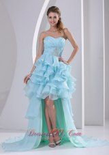 Light Blue Organza High-low Sweetheart 2014 Prom / Homecoming Dress With Beading Ruch and Ruffles Brush Train