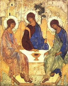 The Holy Trinity, icon by Andrei Rublev (The dance of the Trinity: perichoresis) Byzantine Icons, Byzantine Art, Russian Icons, Russian Art, Russian Painting, Religious Icons, Religious Art, Andrei Rublev, Holy Art
