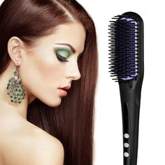 Bhbuy Professional Hair Brush Straightener for Beauty Built-in Double Anion Launching Rapid Heating Technology Anti Scald Nano Brush Digital Electric Straightening Comb Styles Silky Salon Care (black) >>> Details can be found by clicking on the image.