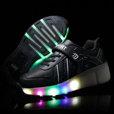 2016 New Autumn Girls/Boys LED Light Shoes , Children Fashion Roller Skate Sneakers , Kids Luminous Shoes With Single Wheels