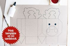 Rudolph the Reindeer Gift bag template - Red Brolly
