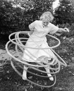 Hula Hoop- These just scream the '50′s to me, even though they're still popular today. In 1957 the Wham-O toy company launched a plastic hula hoop that exploded in sales over the next 3 years. The longest Hula Hoop duration record is held by Roxann Rose of the United States, who went 90 hours between 2 April and 6 April 1987. I can hula hoop for approximately 1 second. Wham-O!