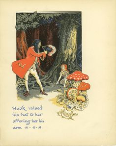Captain Hook Print, Pirates Wendy, Peter Pan Print, Vintage Page, J. M. Barrie, Gwynedd Hudson, Nursery Wall Art, Neverland Book Plate