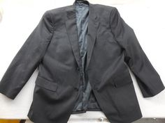 New John W. Nordstrom Mens Gray Travel Wool Two Button Blazer Suit Jacket 44R…