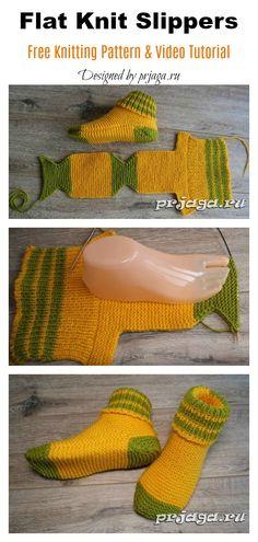 Flat Knit Slippers Free Knitting Pattern and Video Tutorial – Knitting patterns, knitting designs, knitting for beginners. Knitting Blogs, Baby Knitting Patterns, Loom Knitting, Knitting Stitches, Knitting Designs, Knitting Socks, Free Knitting, Knitting Tutorials, Knitting Machine
