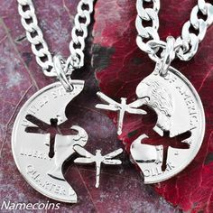 Dragonfly jewelry, Interlocking Necklaces, hand cut coin   NameCoins - Jewelry on ArtFire