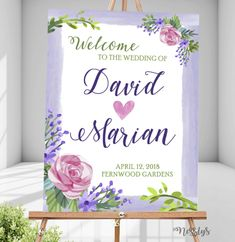 Watercolor paint purple floral Wedding Welcome Sign Design. Perfect for both indoor and outdoor. Can be displayed on rustic or romantic themed weddings. Themed Weddings, Wedding Welcome, Sign Design, Christening, Creative Art, Floral Wedding, Signage, Birthdays, Indoor