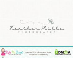 Premade Dragonfly Logo Photography Logo by stylemesweetdesign