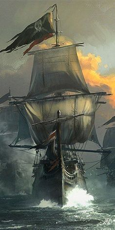 Assassin's Creed IV Concept Art To Shiver Your Timbers Enough Assassin's Creed IV Concept Art To Shiver Your Timbers - -Enough Assassin's Creed IV Concept Art To Shiver Your Timbers - - Aventuras de un barco pirata - luna llena por Gurmukh Bhasin Tattoo Barco, Ship Tattoo Sleeves, Pirate Ship Tattoos, Bateau Pirate, Pirate Art, Pirate Ships, Old Sailing Ships, Ship Drawing, Ship Paintings