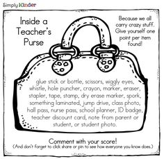 teacher's purse scavenger hunt-great beginning of the year in-service activity
