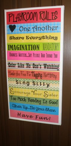 Playroom Wall Ideas | Playroom rules, kid decoration, wall decoration | Ideas for Giselle
