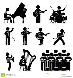 [pictogramas música clásica 1] De aquí podría utilizar el pictograma del piano, del violín, o del arpa. Aunque el que me parece más significativo es el violín.