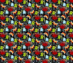 Kaiju! on black - small fabric by thirdhalfstudios on Spoonflower - custom fabric