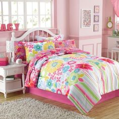 6pc Girl Pink Green Blue Reversible Floral Flower Twin Comforter Set 6pc Bed in a Bag -- Check out the image by visiting the link.