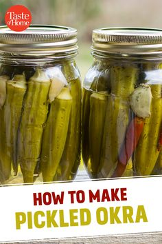 2 Simple Recipes for the BEST Pickled Okra Add zest and crunch to sandwiches, salads and summertime snacks. Canning Pickled Okra, Pickled Okra Recipes, Canning Pickles, Refrigerator Pickled Okra Recipe, Pickled Garlic, Pickled Eggs, Home Canning Recipes, Canning Tips, Pickles