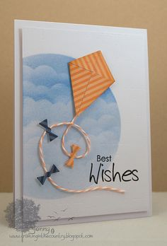 card kite clouds cloud stencil and ink fly away up in the air kites play - Best Wishes Kite Homemade Birthday Cards, Homemade Cards, Flying Card, Kite Flying, Goodbye Cards, Best Wishes Card, Tarjetas Pop Up, Get Well Cards, Card Making Inspiration