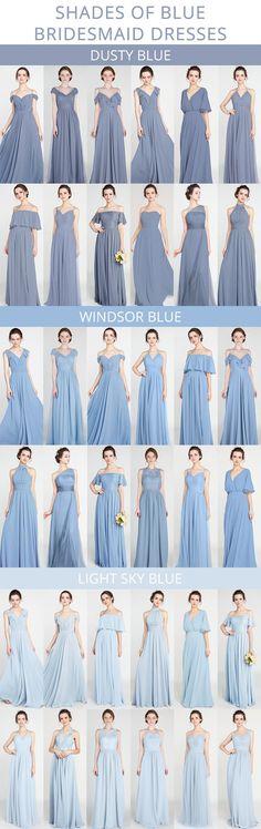 shades of blue bridesmaid dresses for 2018 #bridalparty #bridesmaiddresses #weddingcolors #bluewedding