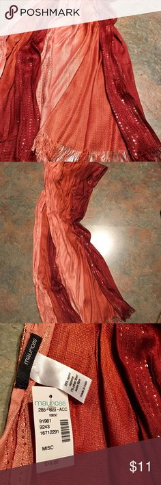 NEW Burnt Orange/Sienna/Rosegold/Peach Ombré Scarf Maurice's scarf, NWT. Sequin detail & a beautiful ombré color combination. I wish my camera would pick up how pretty it is in person :(  Smoke free home Maurices Accessories Scarves & Wraps