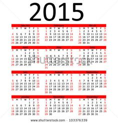 Simple 2015 Calendar with Red Bar (EPS 10) by Paul Stringer, via ShutterStock