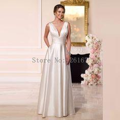 Vestido de noiva sem encosto Vestido de Noiva Sexy 2017 robe de mariee Low Cut Varrer-trem Vestidos de Casamento Vestidos de Noiva CGW453
